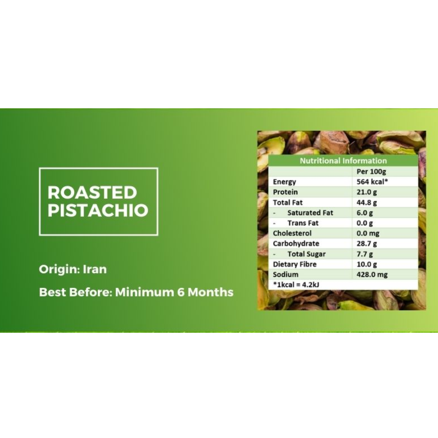 Roasted Pistachio (Salted & Unbleached) [500g] - Value Pack