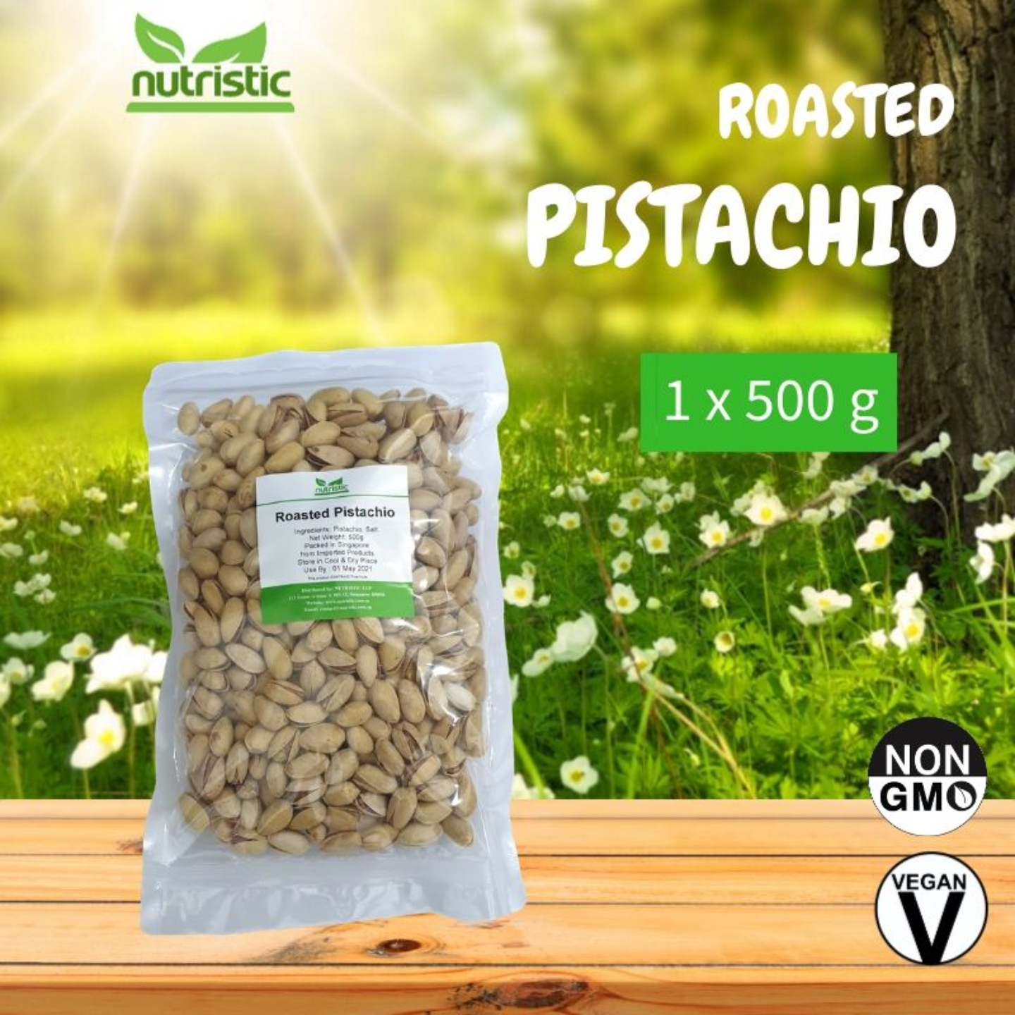 Roasted Pistachio Salted & Unbleached 500g - Value Pack