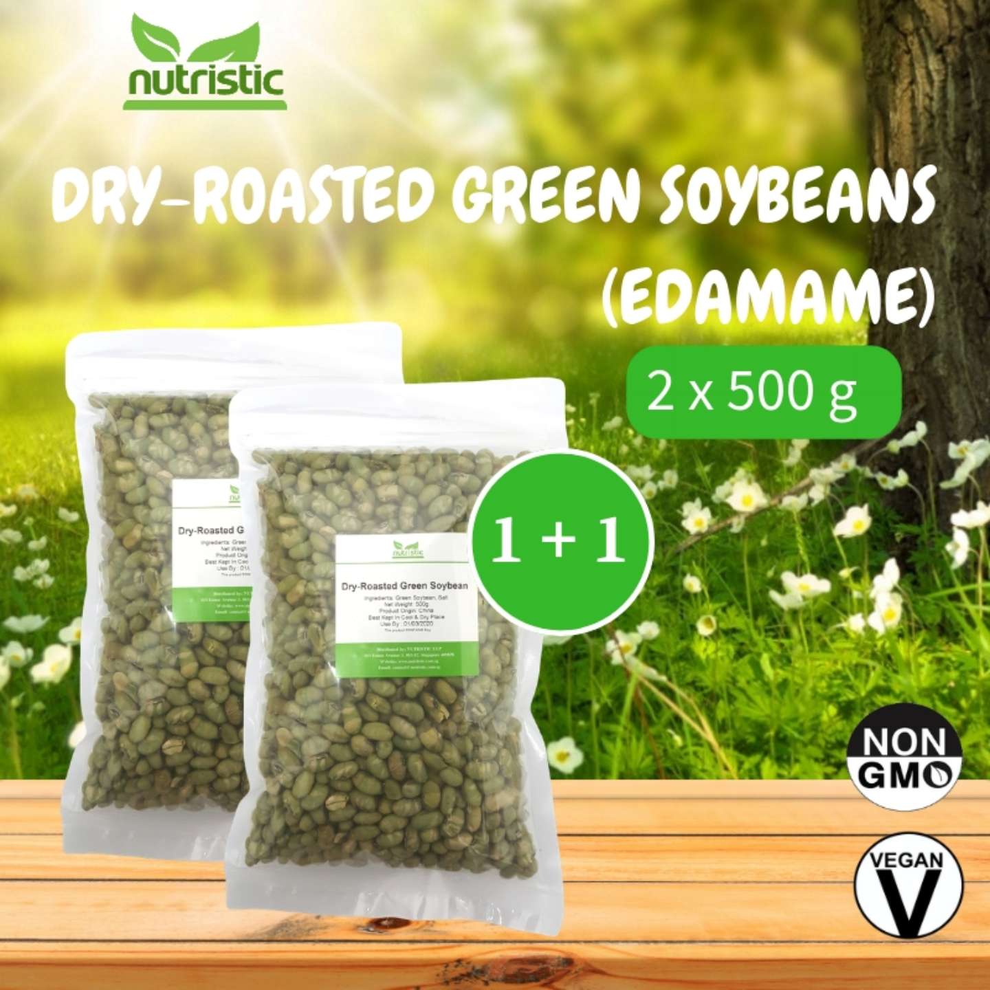 Dry-Roasted Green Soybeans Edamame 500g x2 - Value Bundle