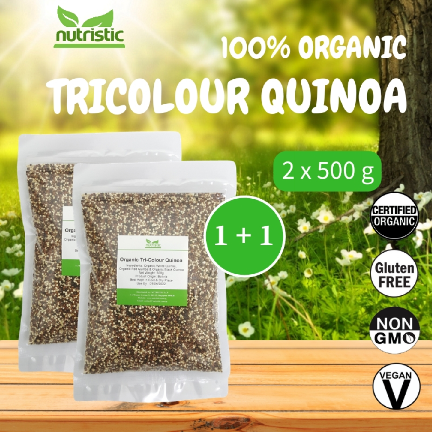 Organic Tricolour Quinoa 500g x2 - Value Bundle 1+1