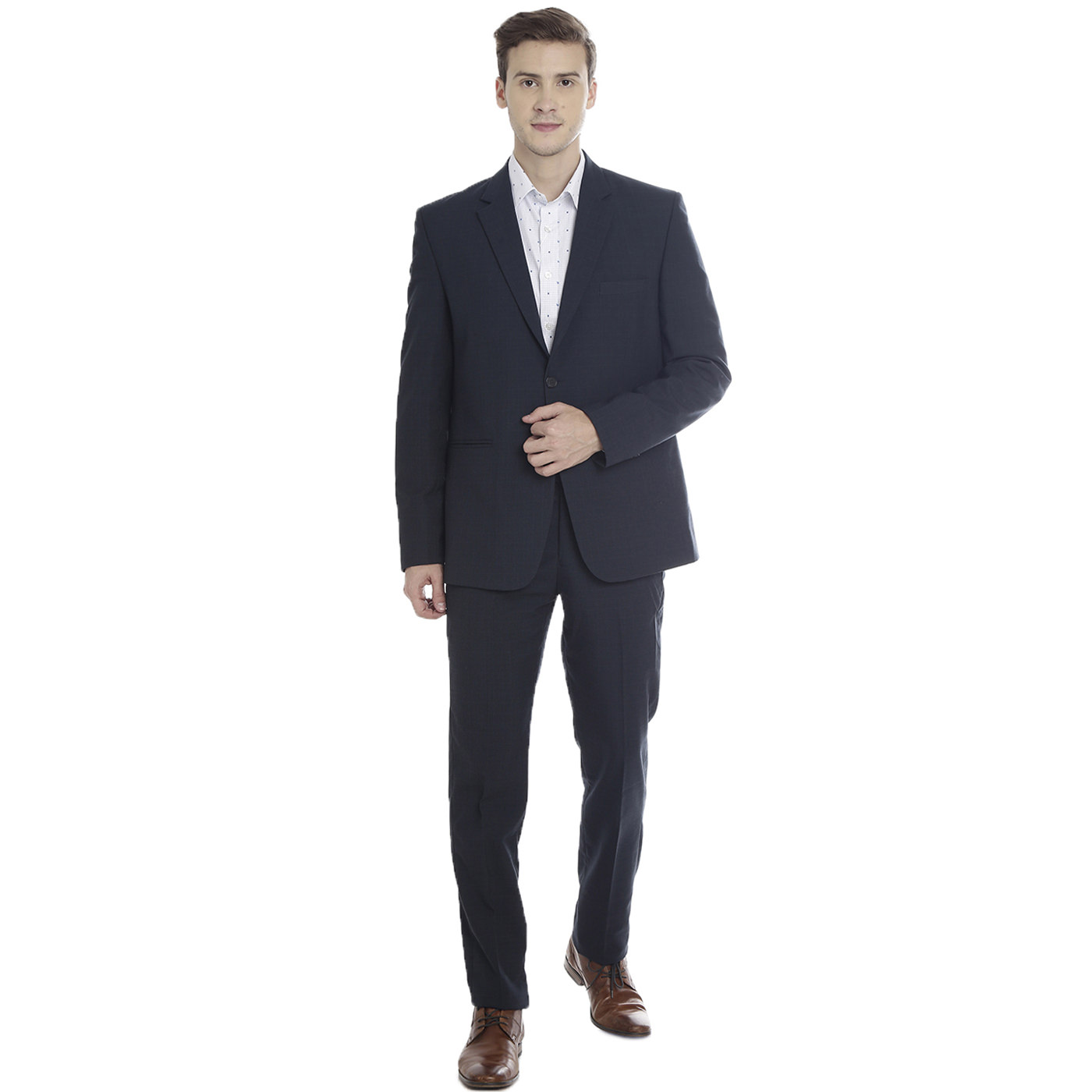 Double TWO Dark Navy Checks Slim Fit Men's Suit