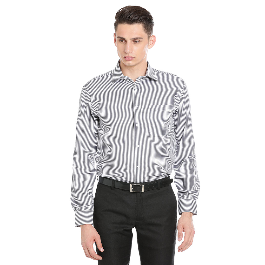 Paradigm Grey Color Formal Pure Cotton Non-Iron Shirt