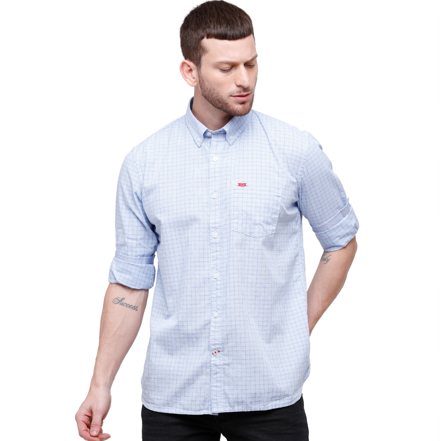 Men Blue Checked Slim Fit Casual Shirt