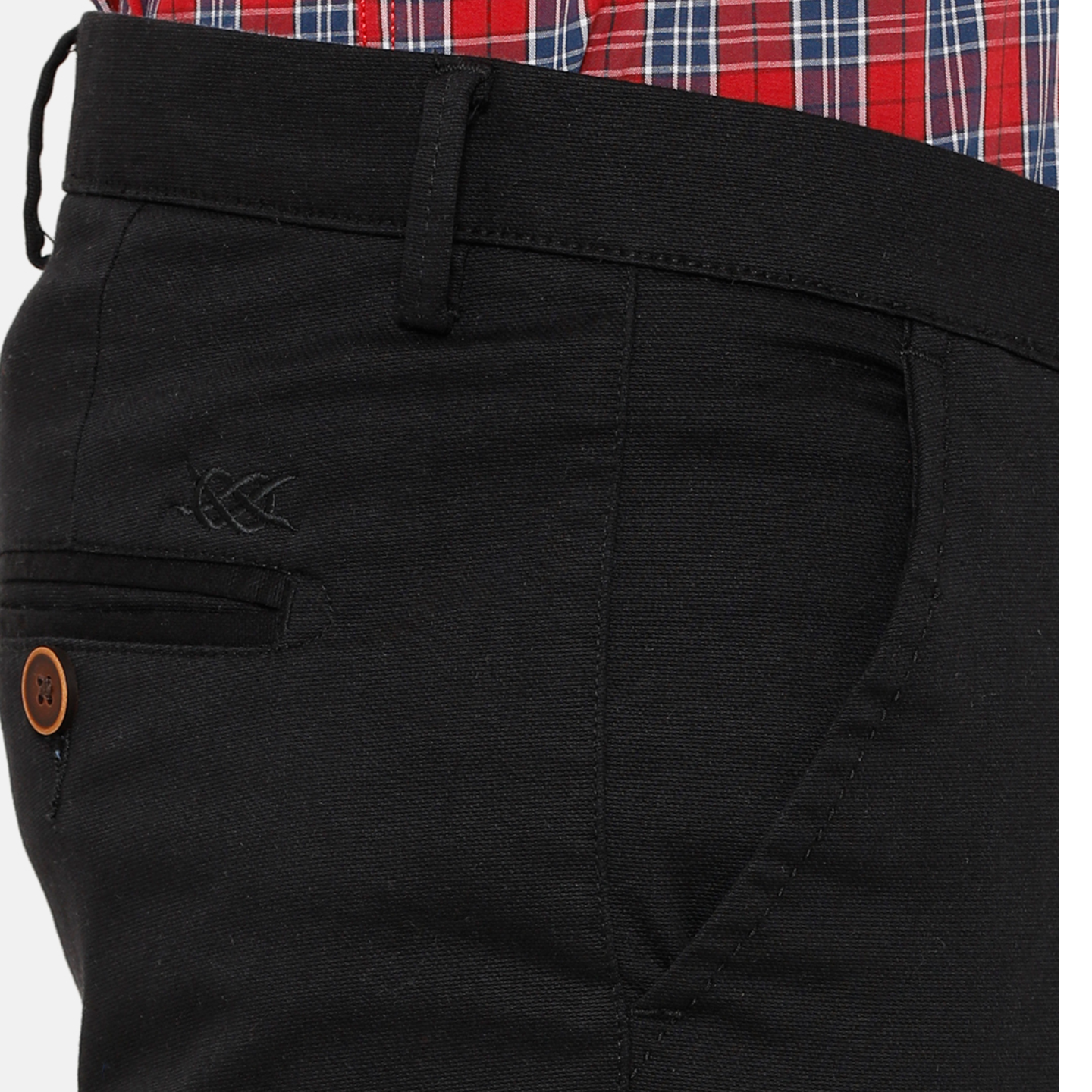 Bar Harbour Men Black Slim Fit Solid Chino Trousers