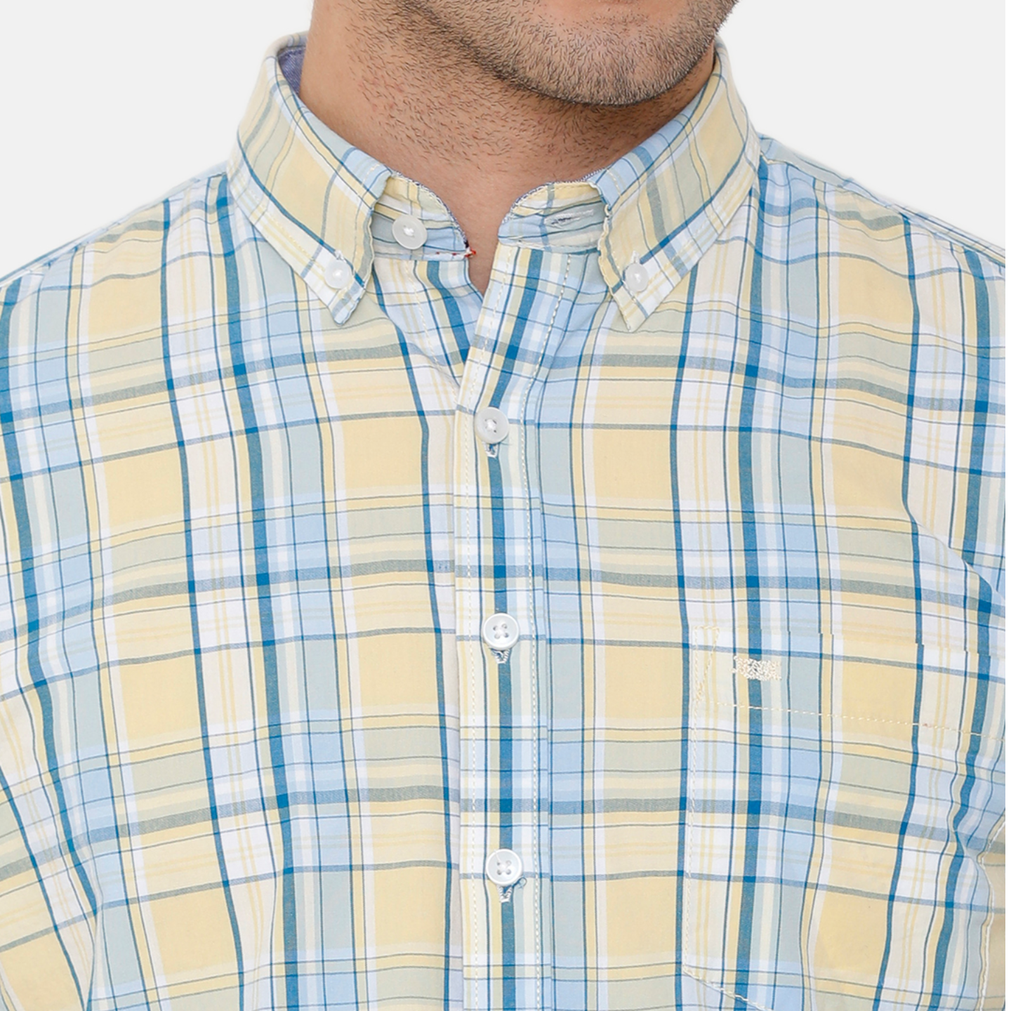 Bar Harbour Men Yellow & Blue Slim Fit Checked Casual Shirt
