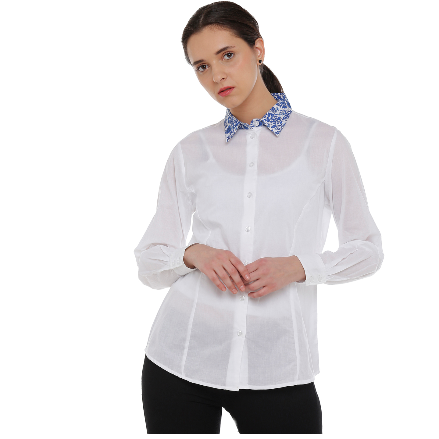 Double TWO Womens Cotton White Contrast Collar Shirt