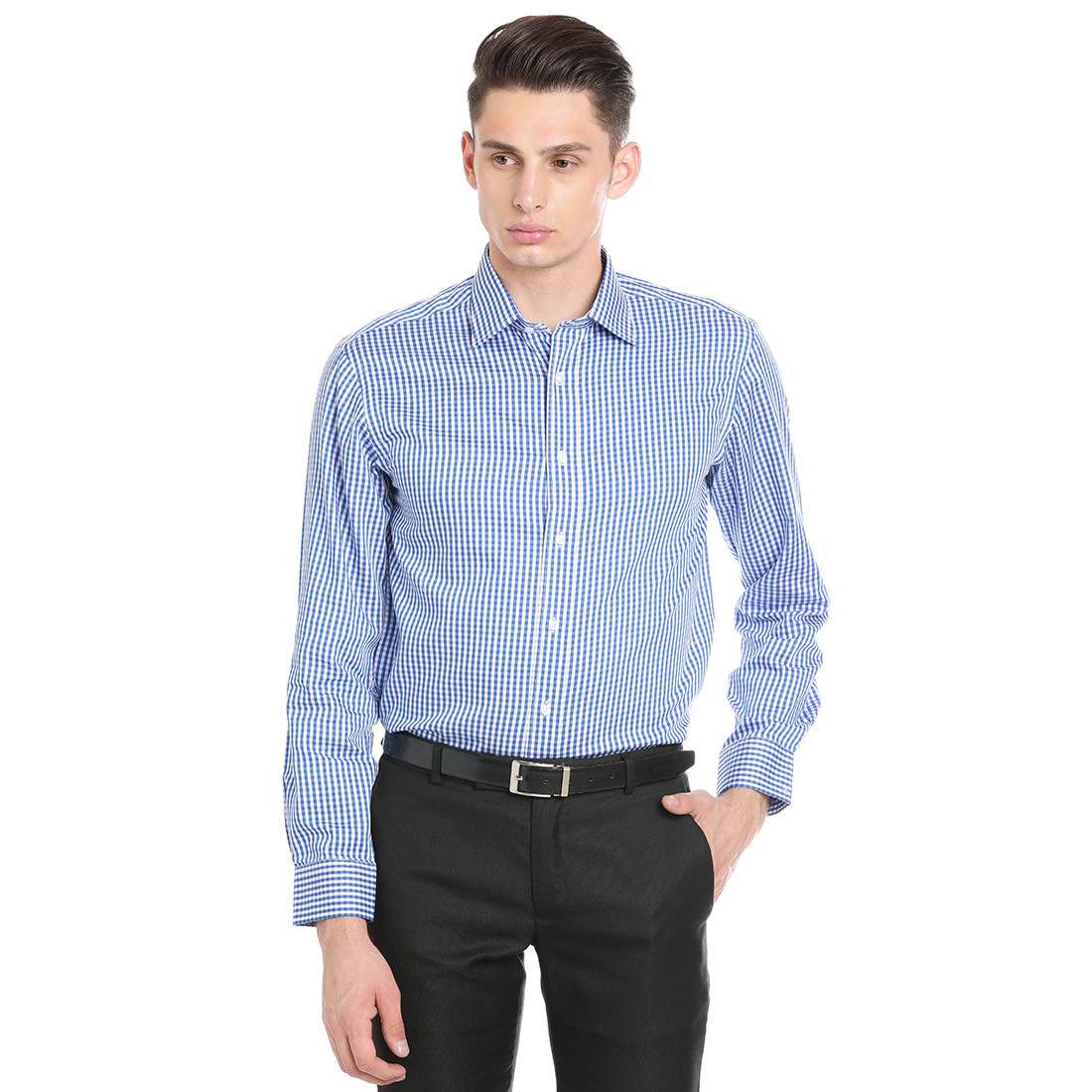 Paradigm Blue Color Formal Pure Cotton Non-Iron Shirt
