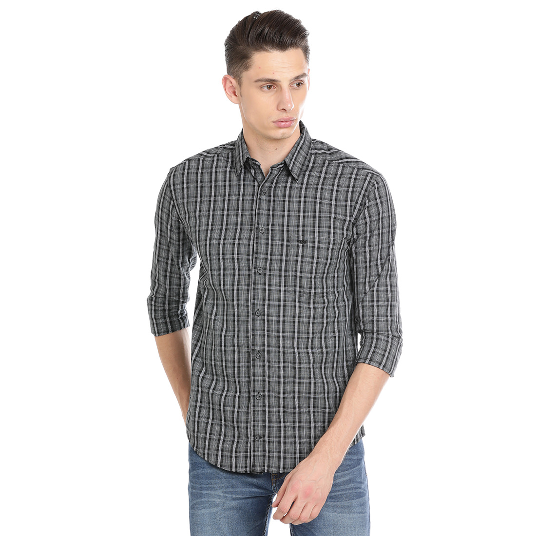 Bar Harbour Men Checkered Casual Grey Shirt
