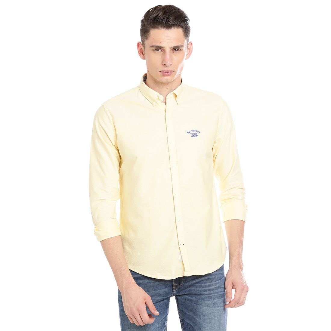 Bar Harbour Men Solid Casual Yellow Shirt