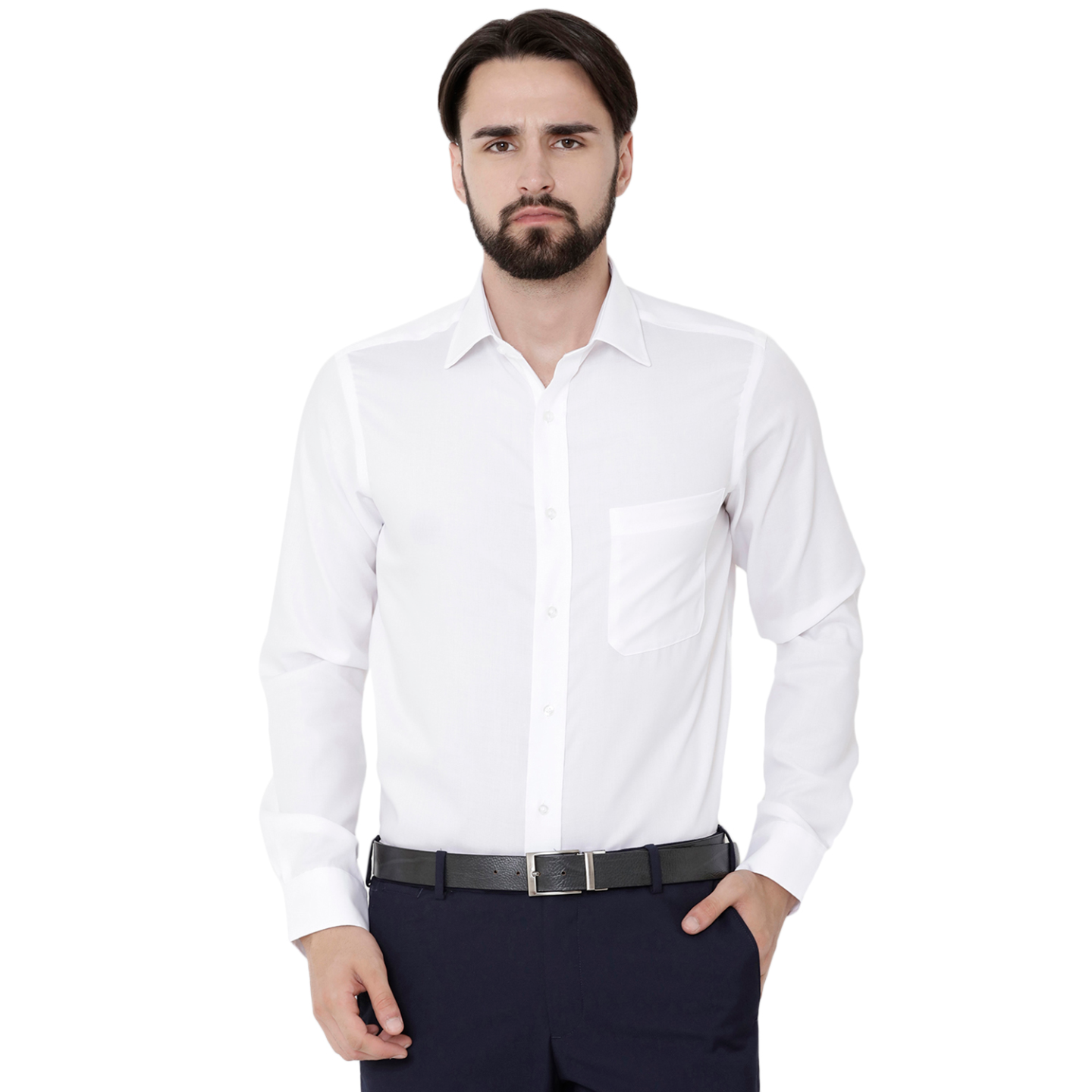 Double TWO Paradigm Men's Solid White Pure Cotton Non-Iron Shirt