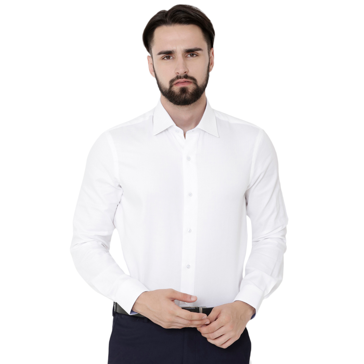 Double TWO White Herringbone Formal Shirt