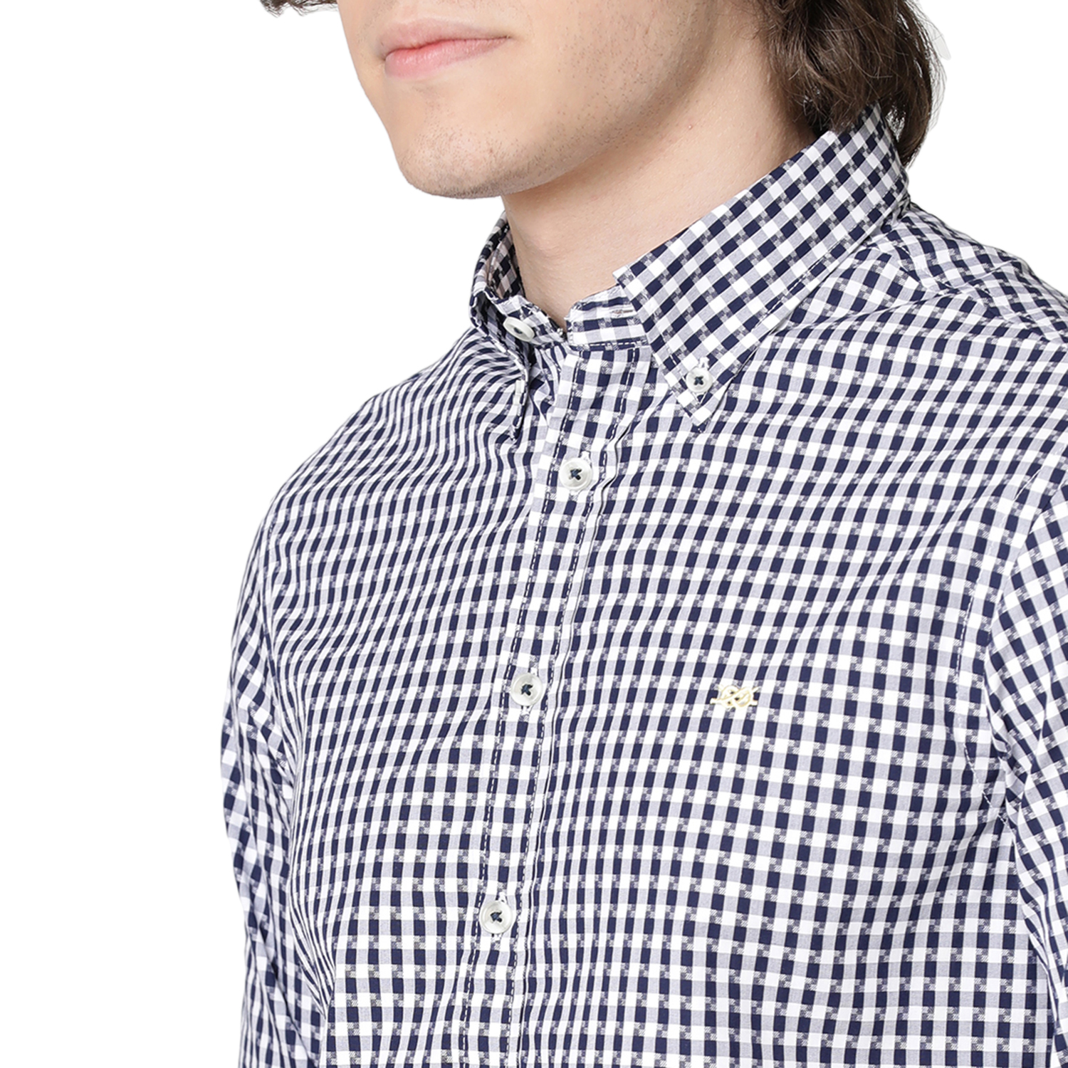Bar Harbour Navy and White Abstract Check Casual Shirt