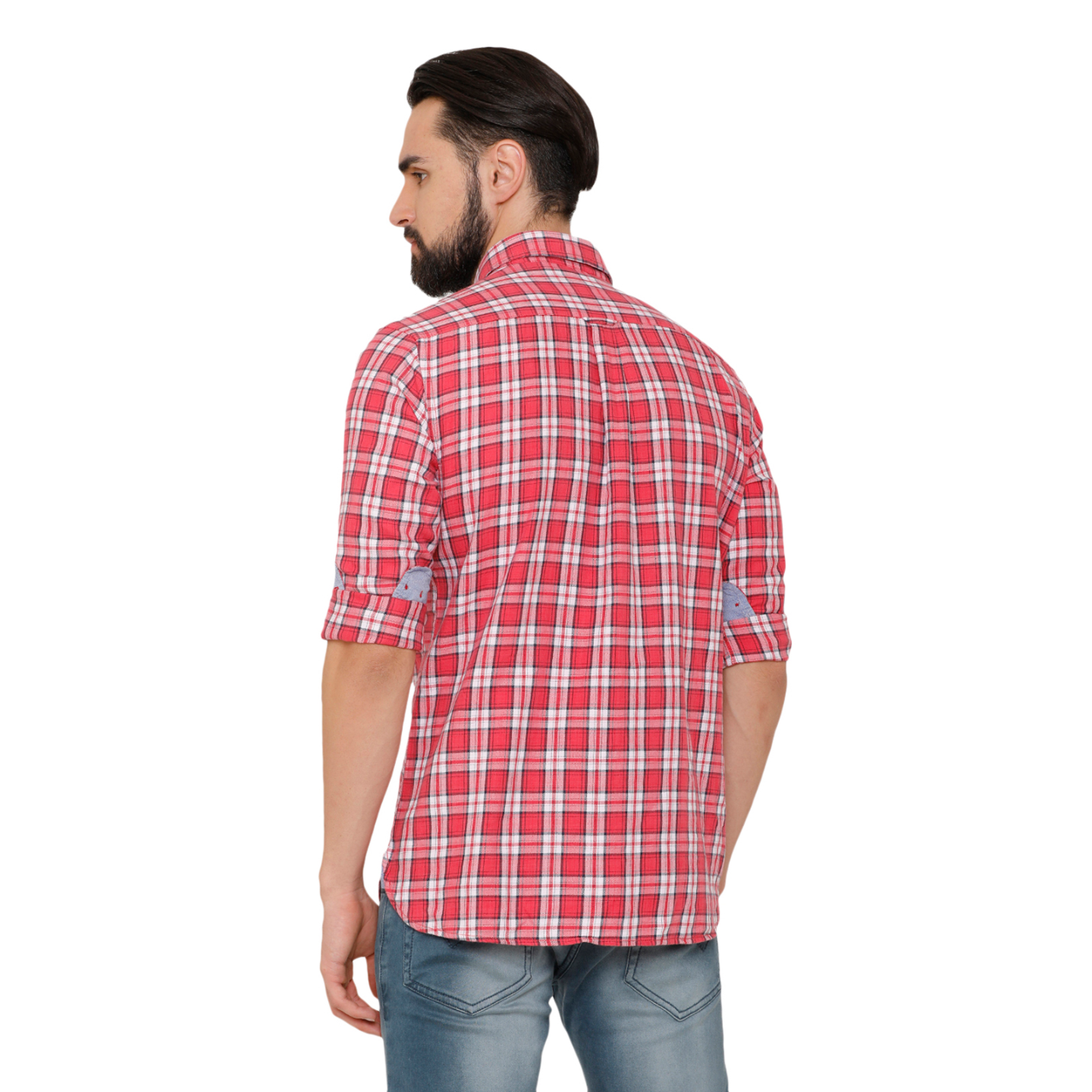 Bar Harbour Men Coral Slim Fit Checked Casual Shirt
