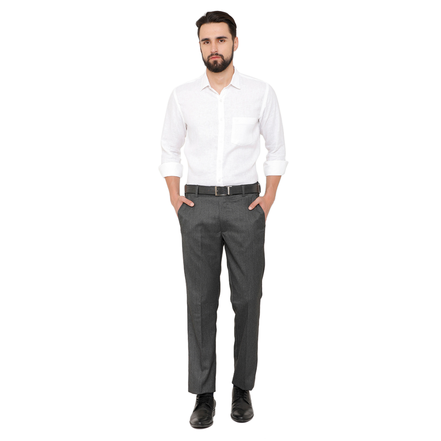 Double TWO Men Grey Flexiwaist Comfort Fit Solids Formal Trousers