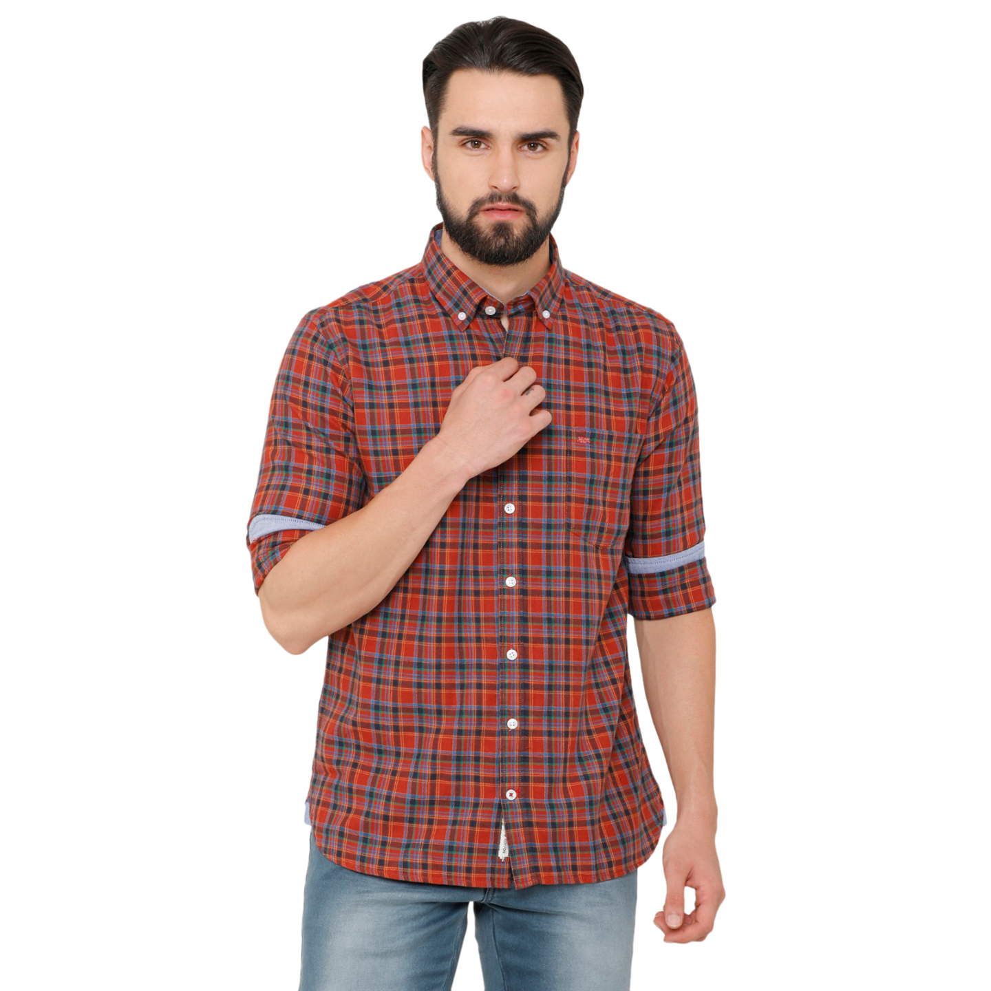 Bar Harbour Men Rust & Blue Slim Fit Checked Casual Shirt