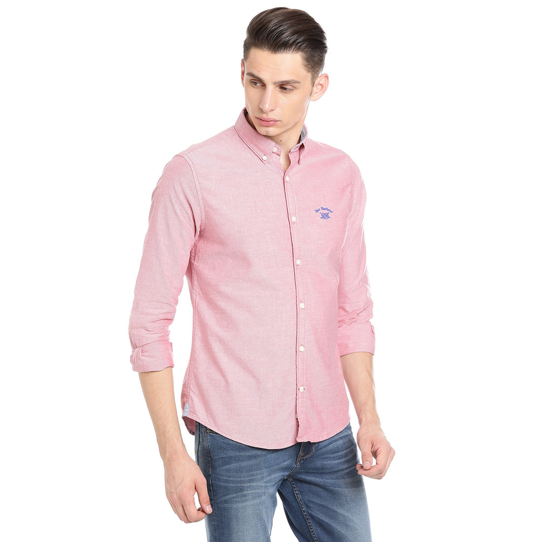 Bar Harbour  Men Solid Casual Pink Shirt