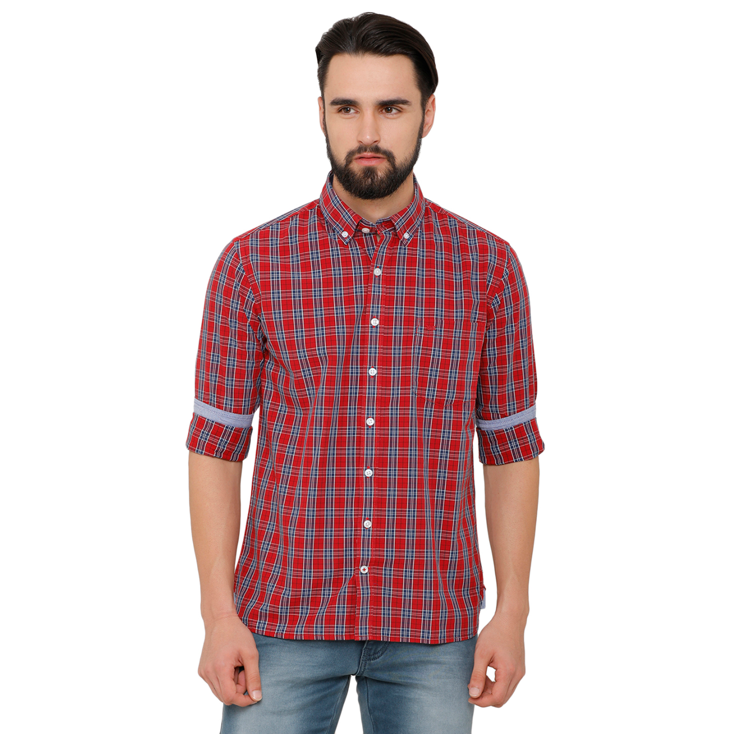 Bar Harbour Men Red & Navy Blue Slim Fit Checked Casual Shirt