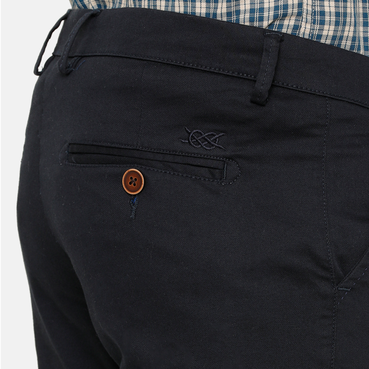 Bar Harbour Men Navy Blue Slim Fit Solid Chino Trousers