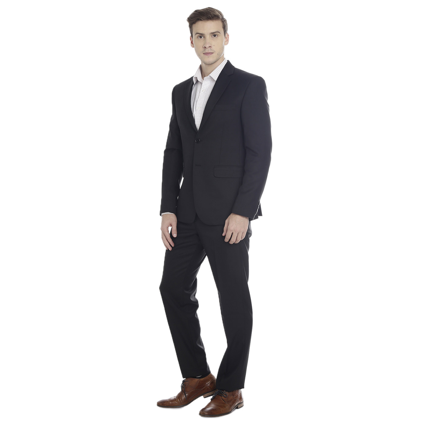 Double TWO Black Slim Fit Men's Suit