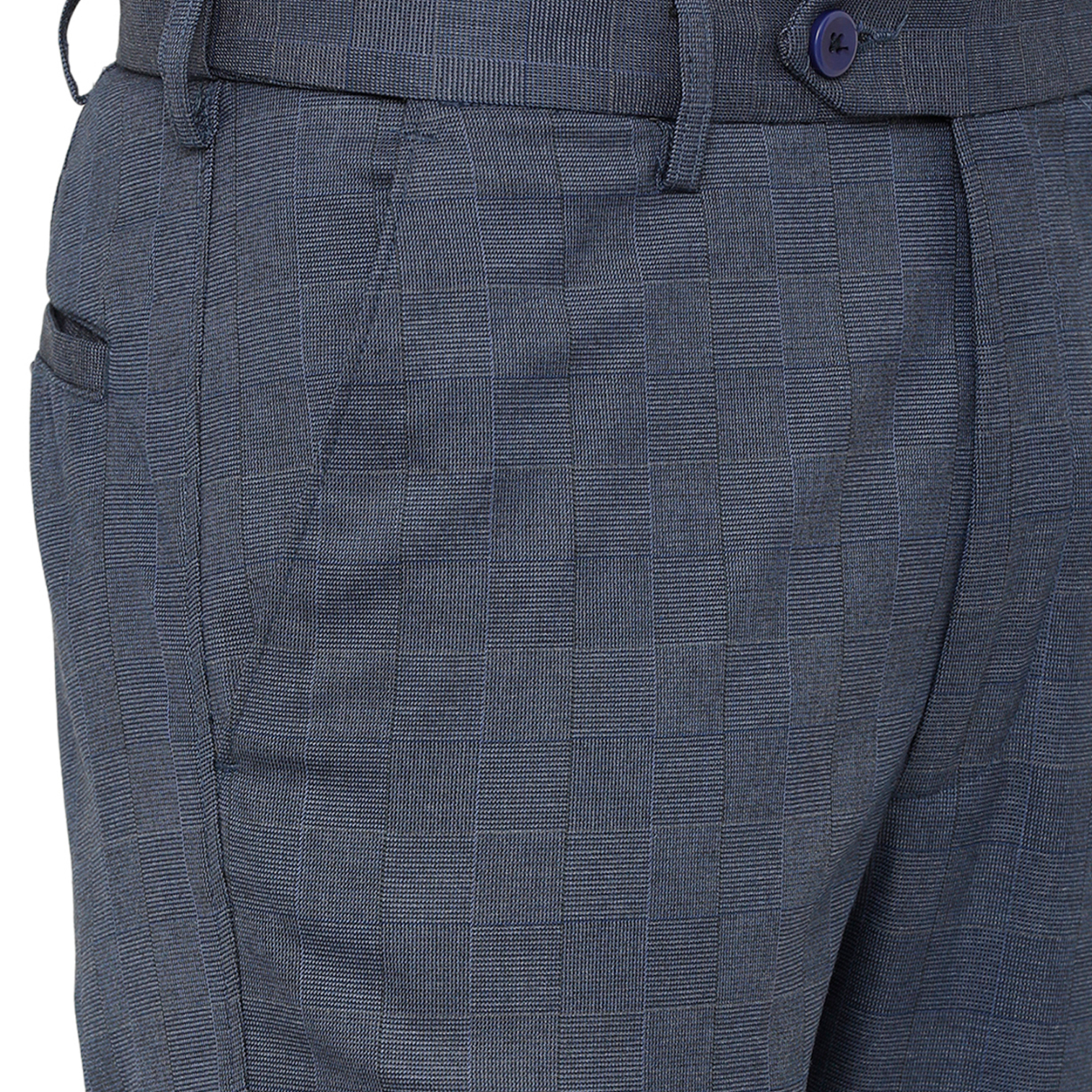 Double TWO Men Blue Flexiwaist Comfort Fit Checked Formal Trousers