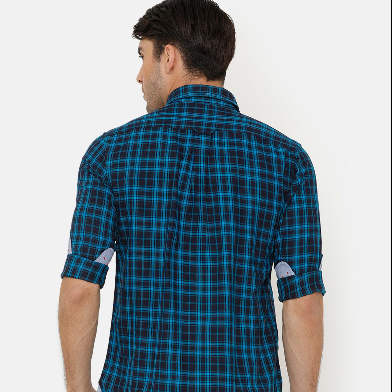 Bar Harbour Men Blue & Black Slim Fit Checked Casual Shirt