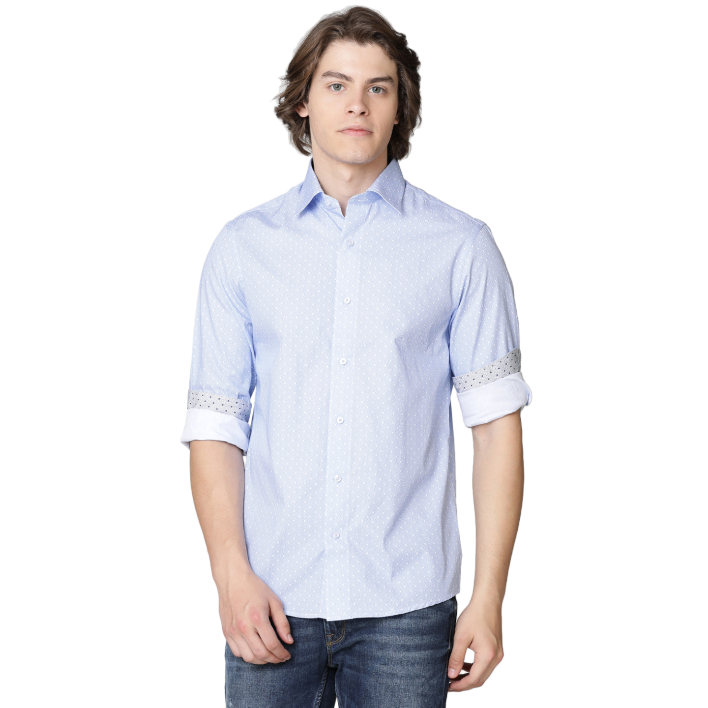 Double TWO Blue Spotted Formal Shirt