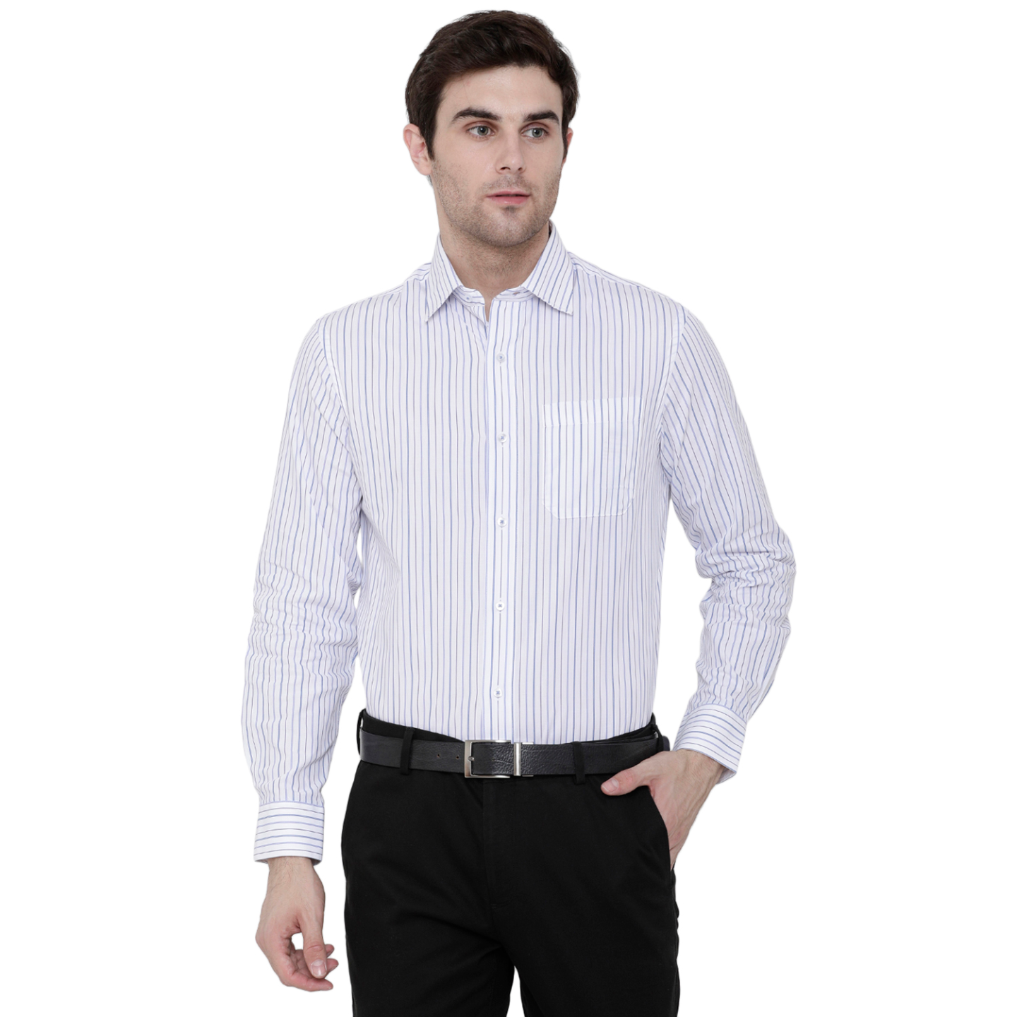 Double TWO Blue Mini Grid Stripe Formal Shirt