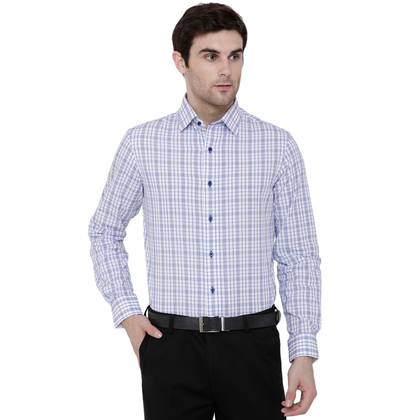 Double TWO Blue Check Formal Shirt