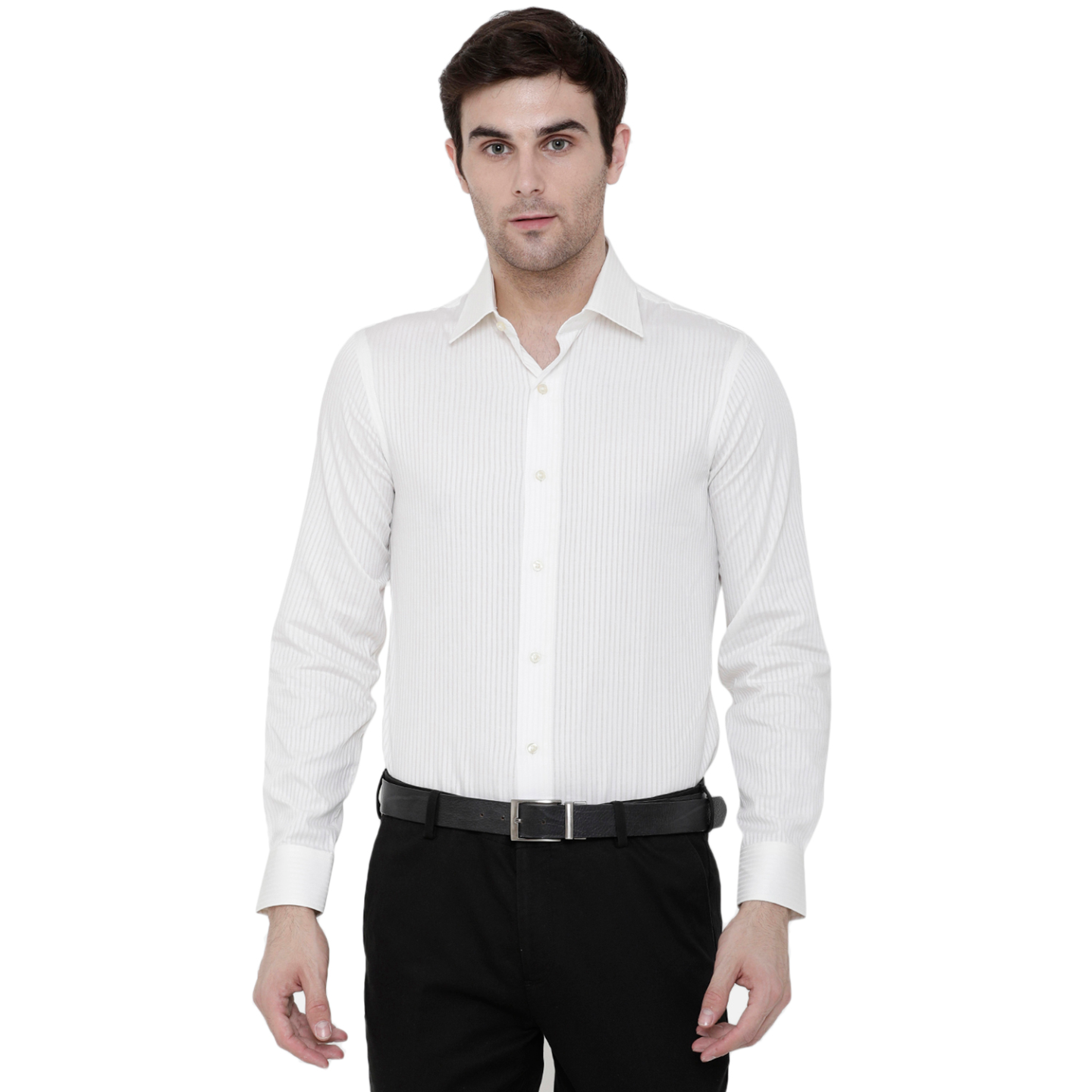 Double TWO Creem White Solid Formal Shirt