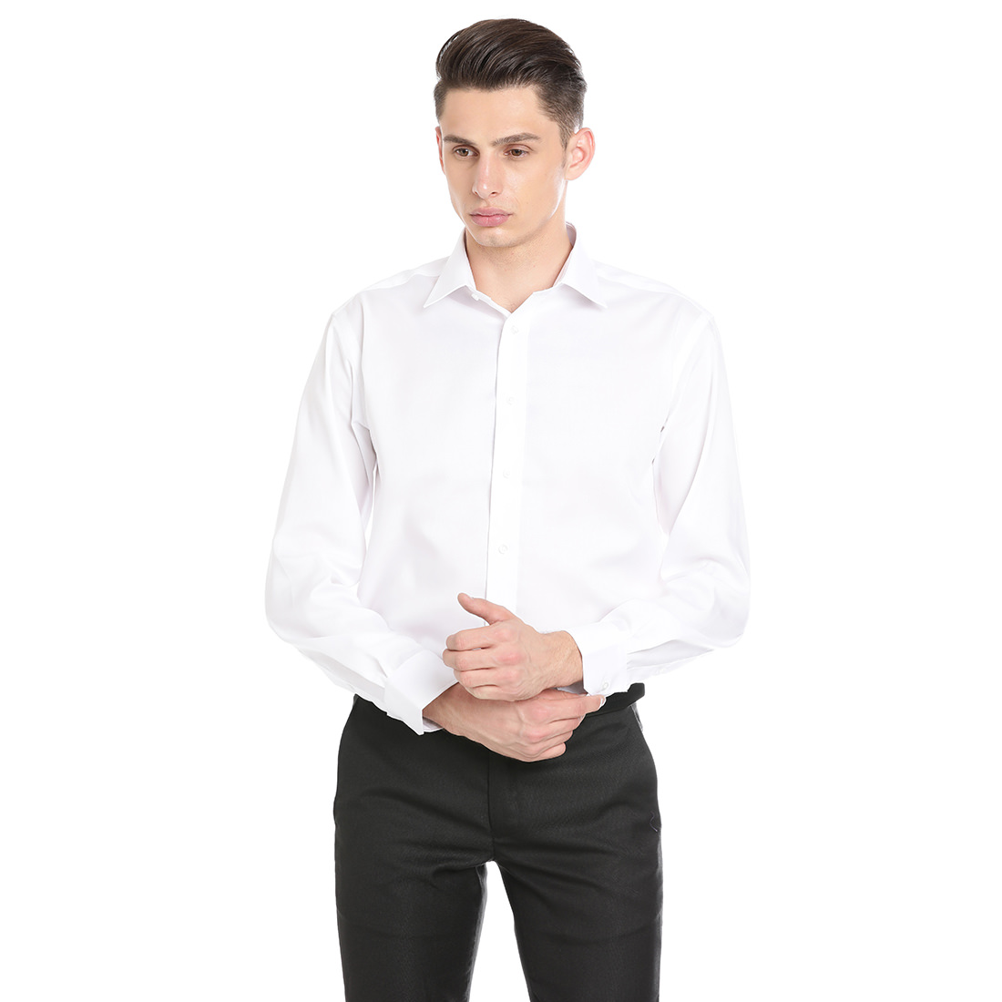 Double Two Men Formal White Cotton Shirt