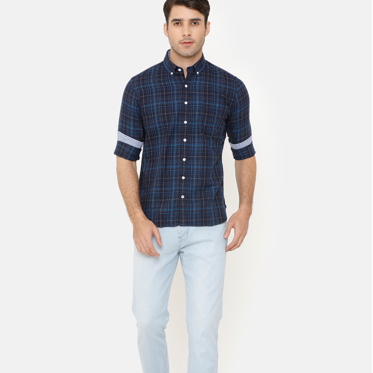 Bar Harbour Men Navy Blue & Blue Slim Fit Checked Casual Shirt