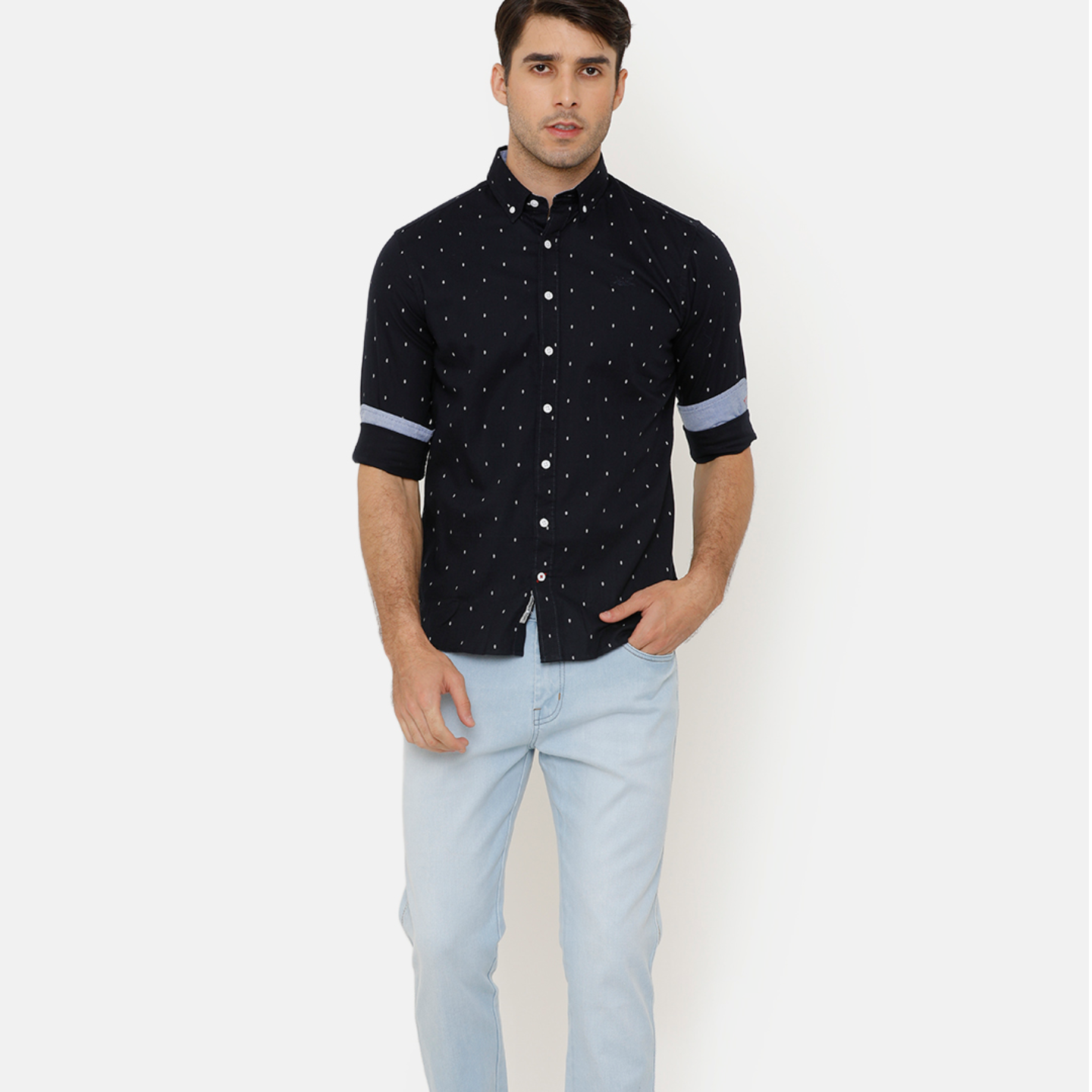 Bar Harbour Navy Blue Printed Casual Shirt