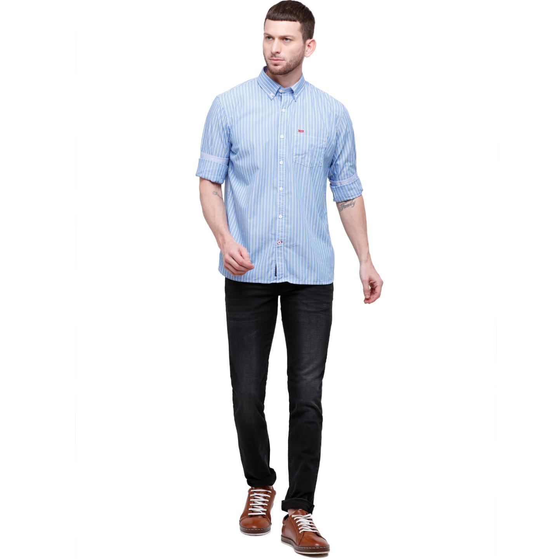Men Blue Striped Slim Fit Casual Shirt