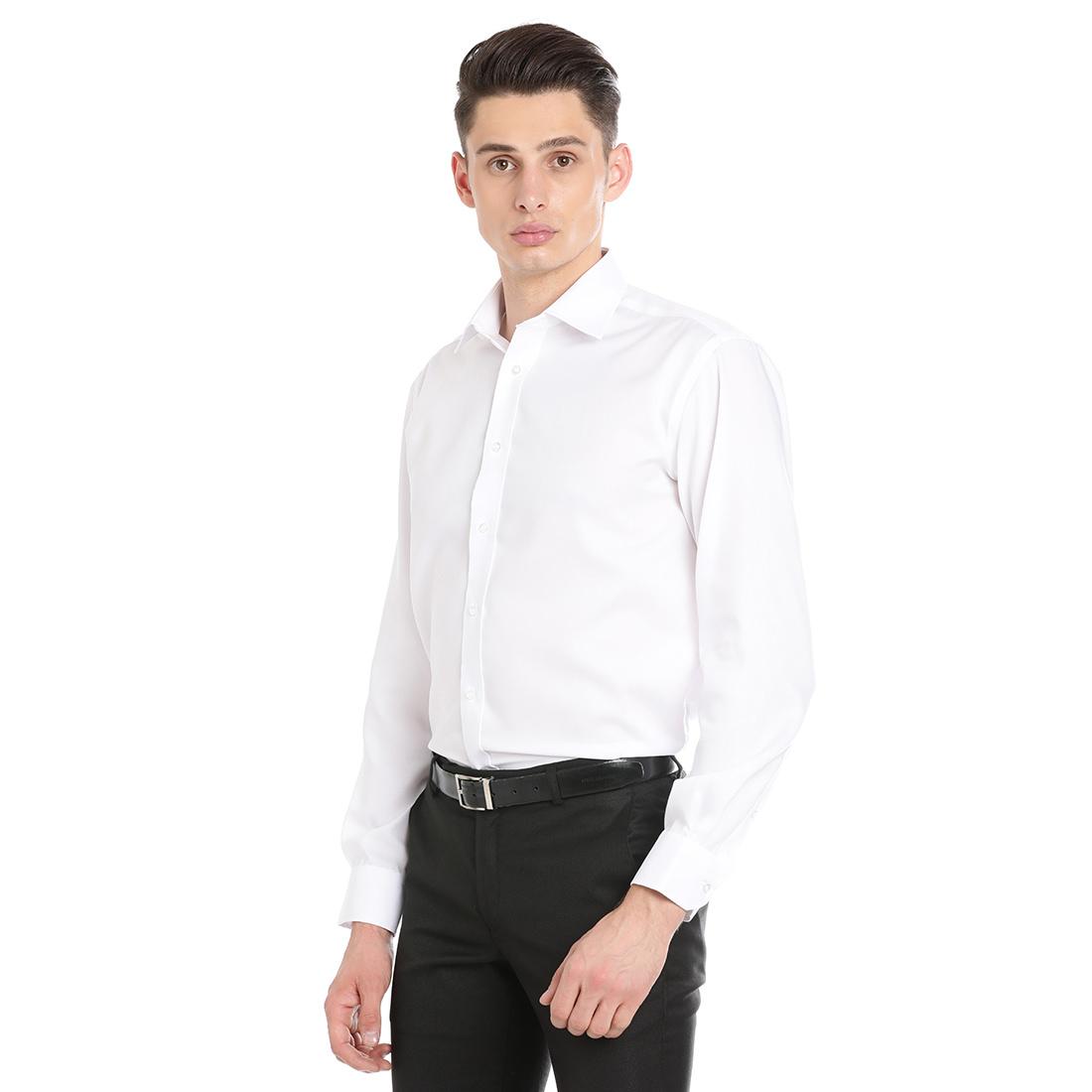 Double Two Men Formal White Cotton Shirt