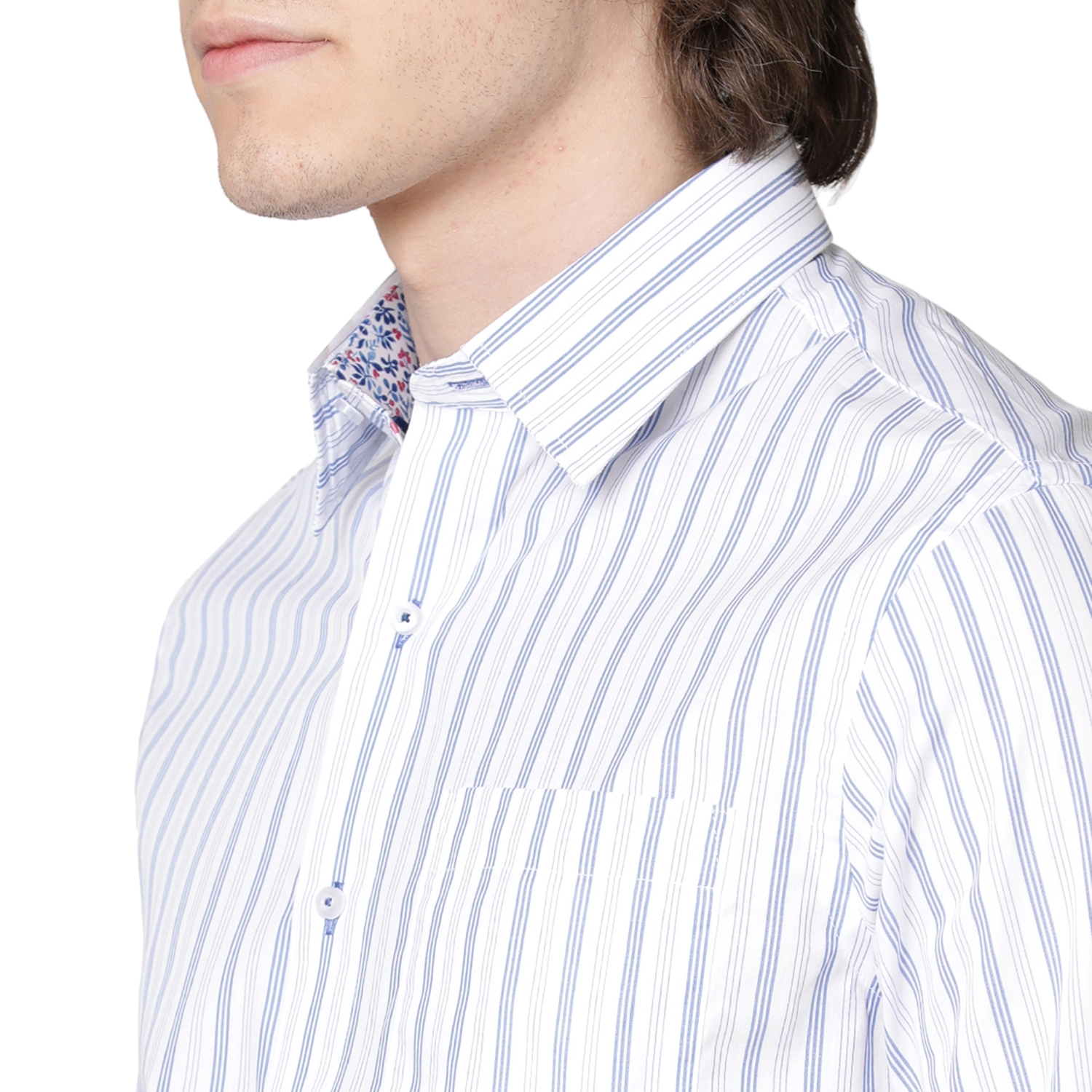 Double TWO Blue Banded Stripe Formal Shirt