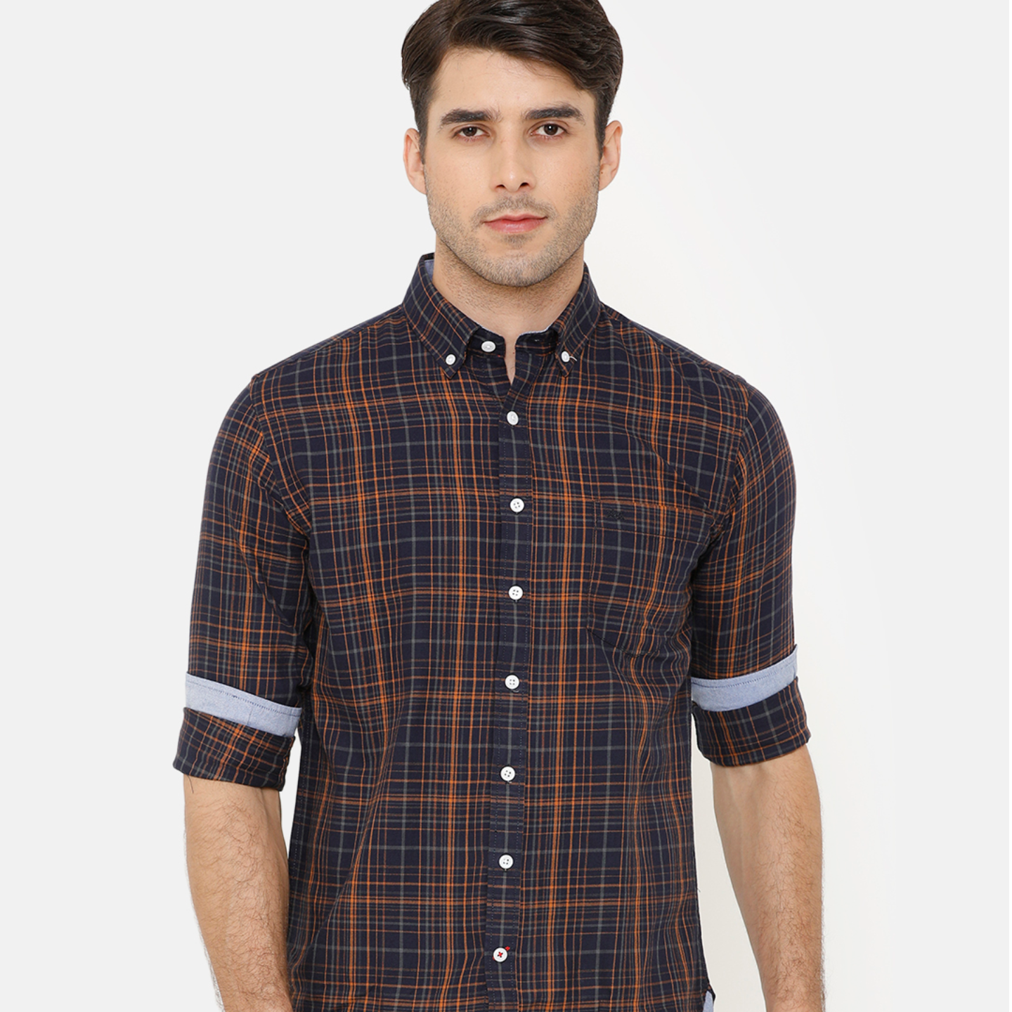 Bar Harbour Men Orange & Navy Blue Slim Fit Checked Casual Shirt