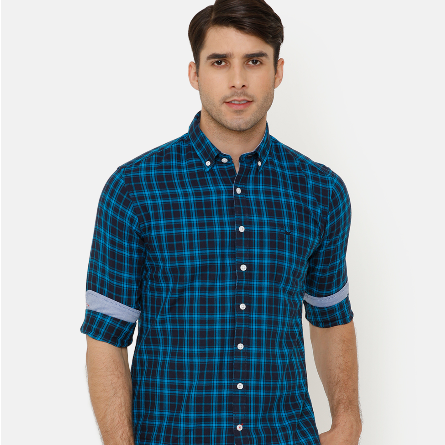 Bar Harbour Men Blue & Black Slim Fit Checked Casual Shirt