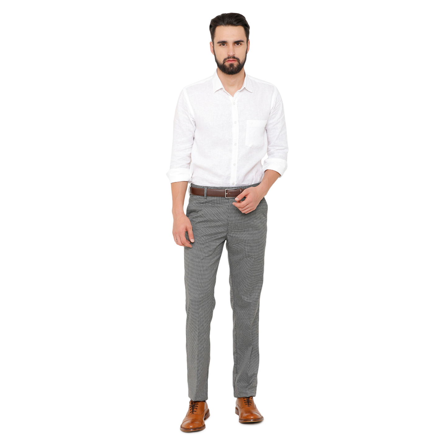 Double TWO Men Grey Self Design Flexiwaist Comfort Fit Formal Trousers