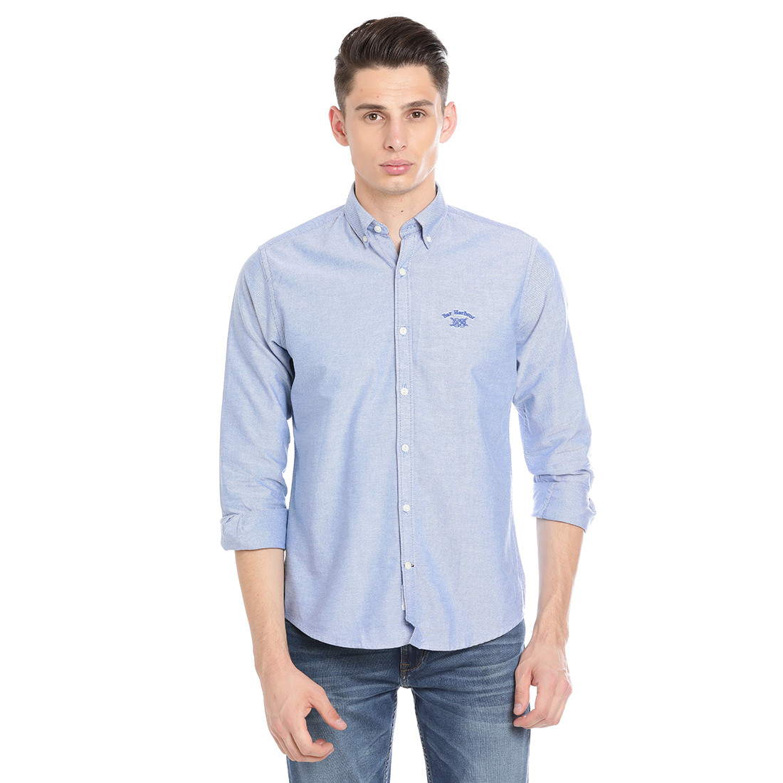 Bar Harbour Men Solid Casual Blue Shirt