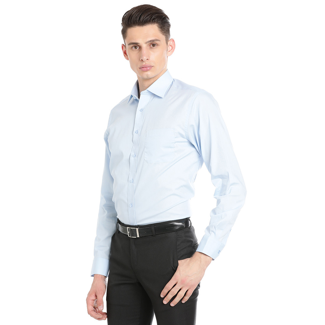 Double Two Men Formal Light Blue Cotton Shirt
