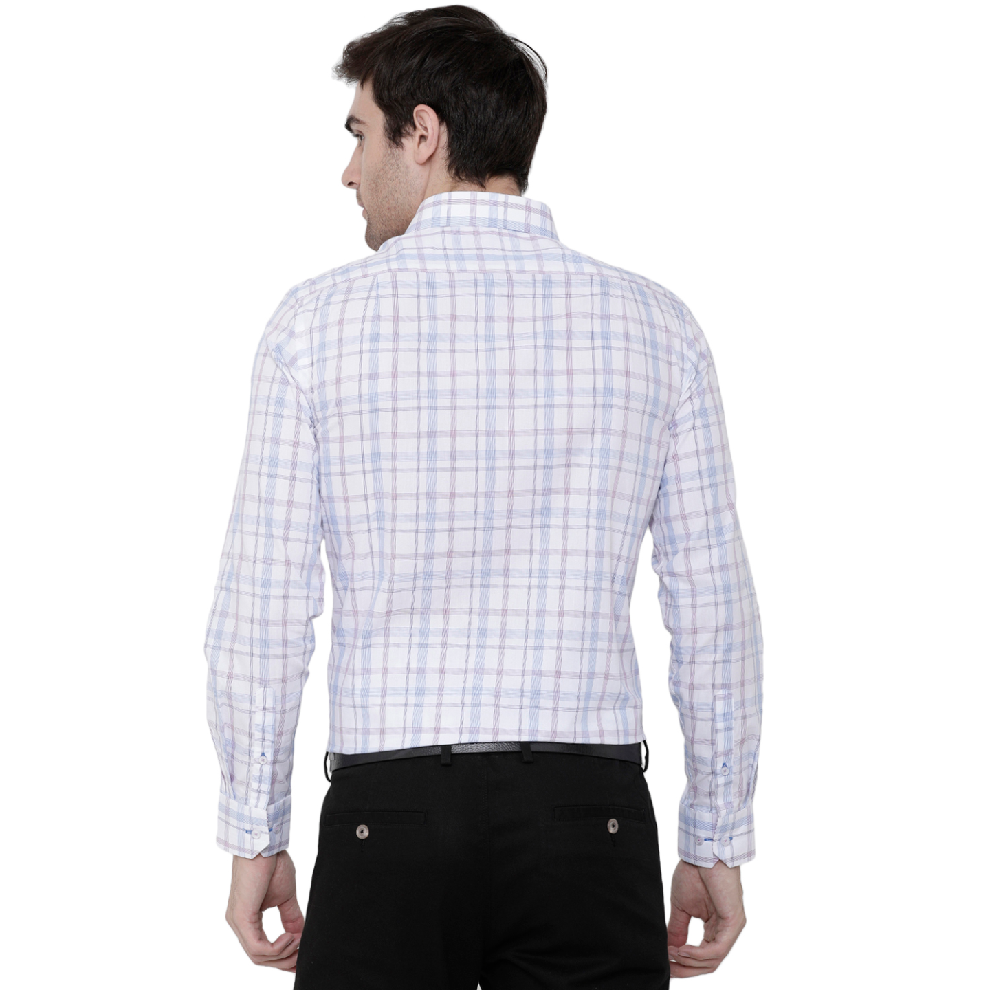 Double TWO Wine Marked Check Formal Shirt