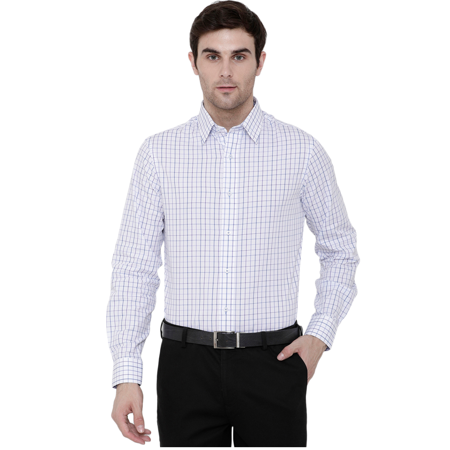 Double TWO Blue Cotton Check Formal Shirt