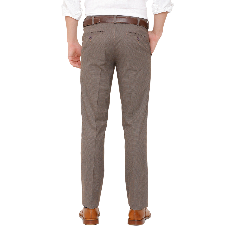 Double TWO Men Brown Self Design Flexiwaist Comfort Fit Formal Trousers