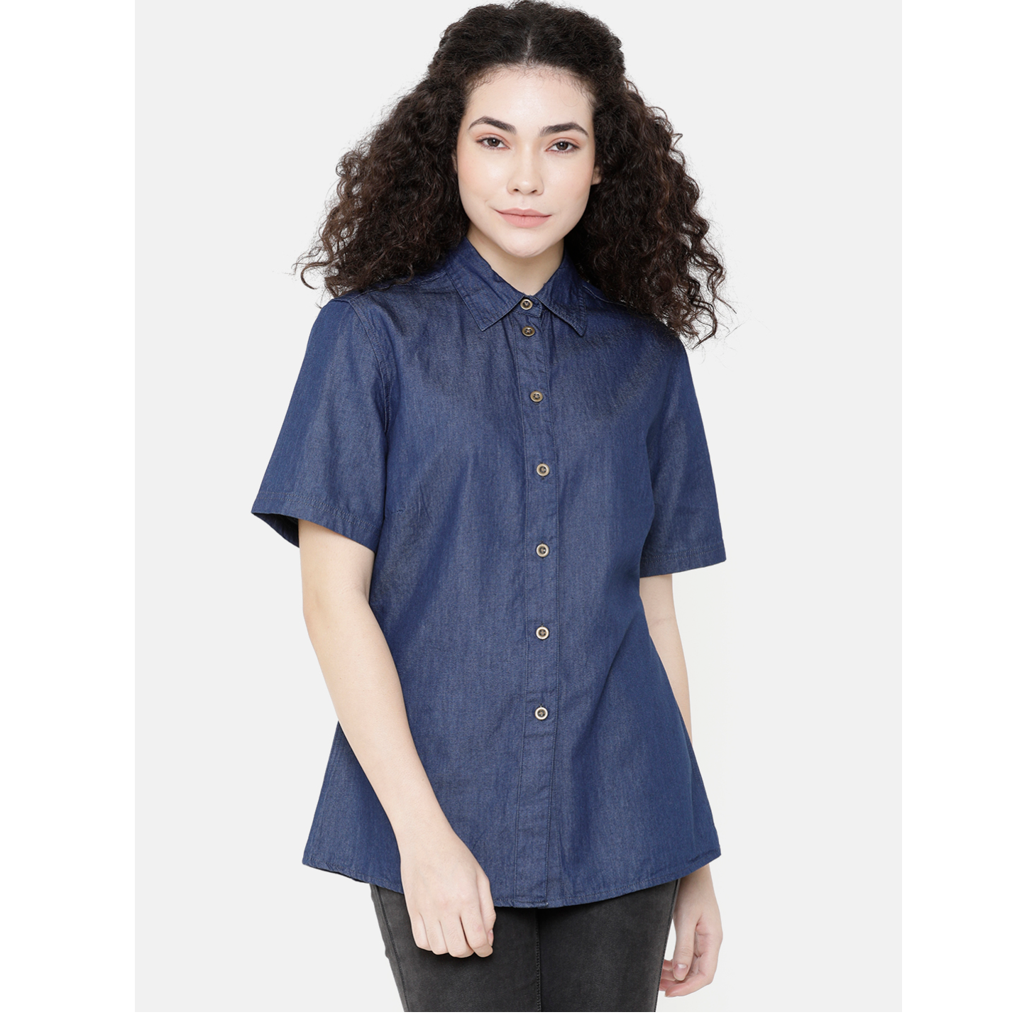 Women Blue Solid Shirt Style Top