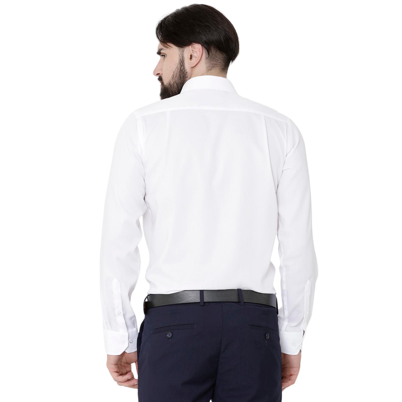 Double TWO Paradigm Men's Solid White Pure Cotton Non-Iron Shirt