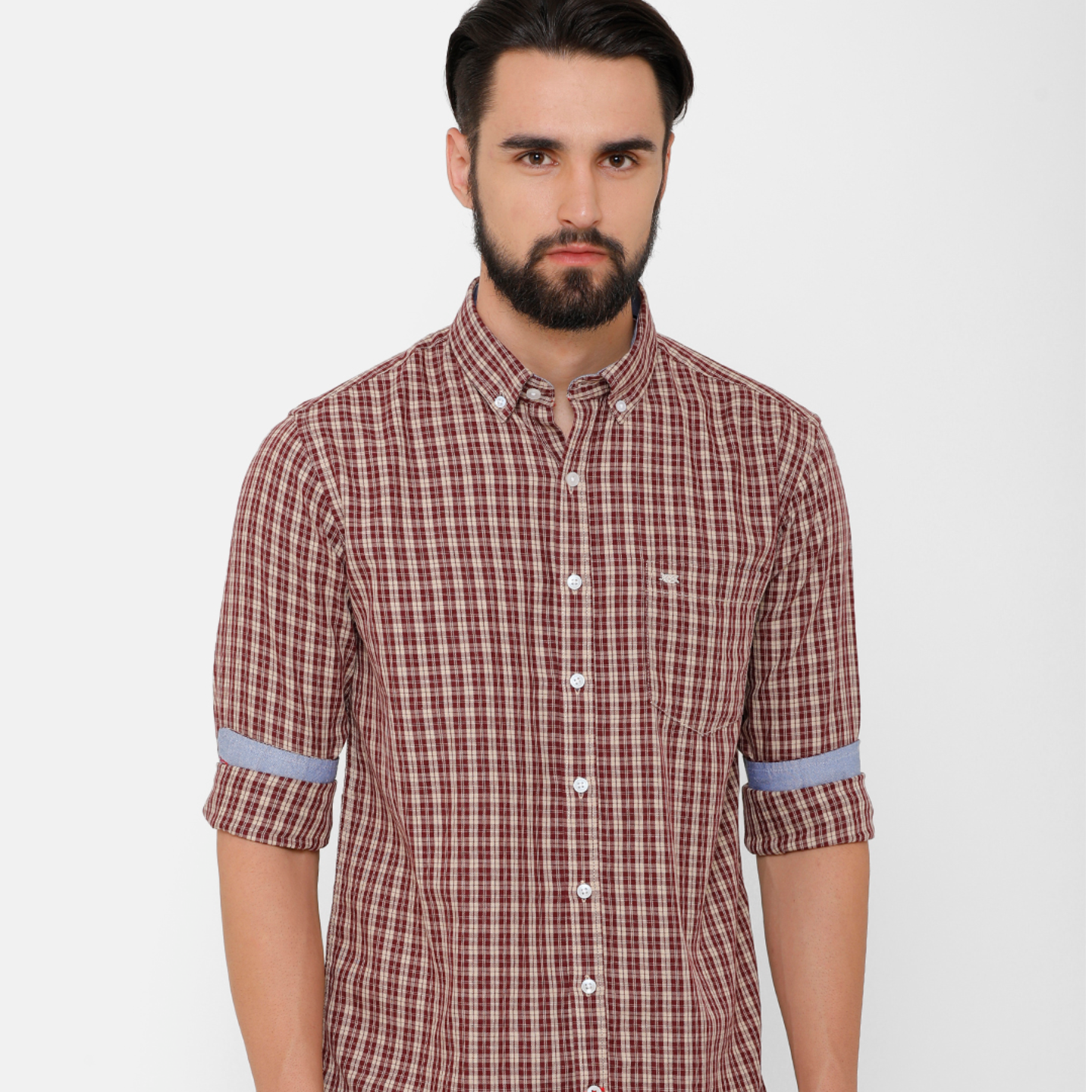 Bar Harbour Men Mustard & Burgundy Slim Fit Checked Casual Shirt