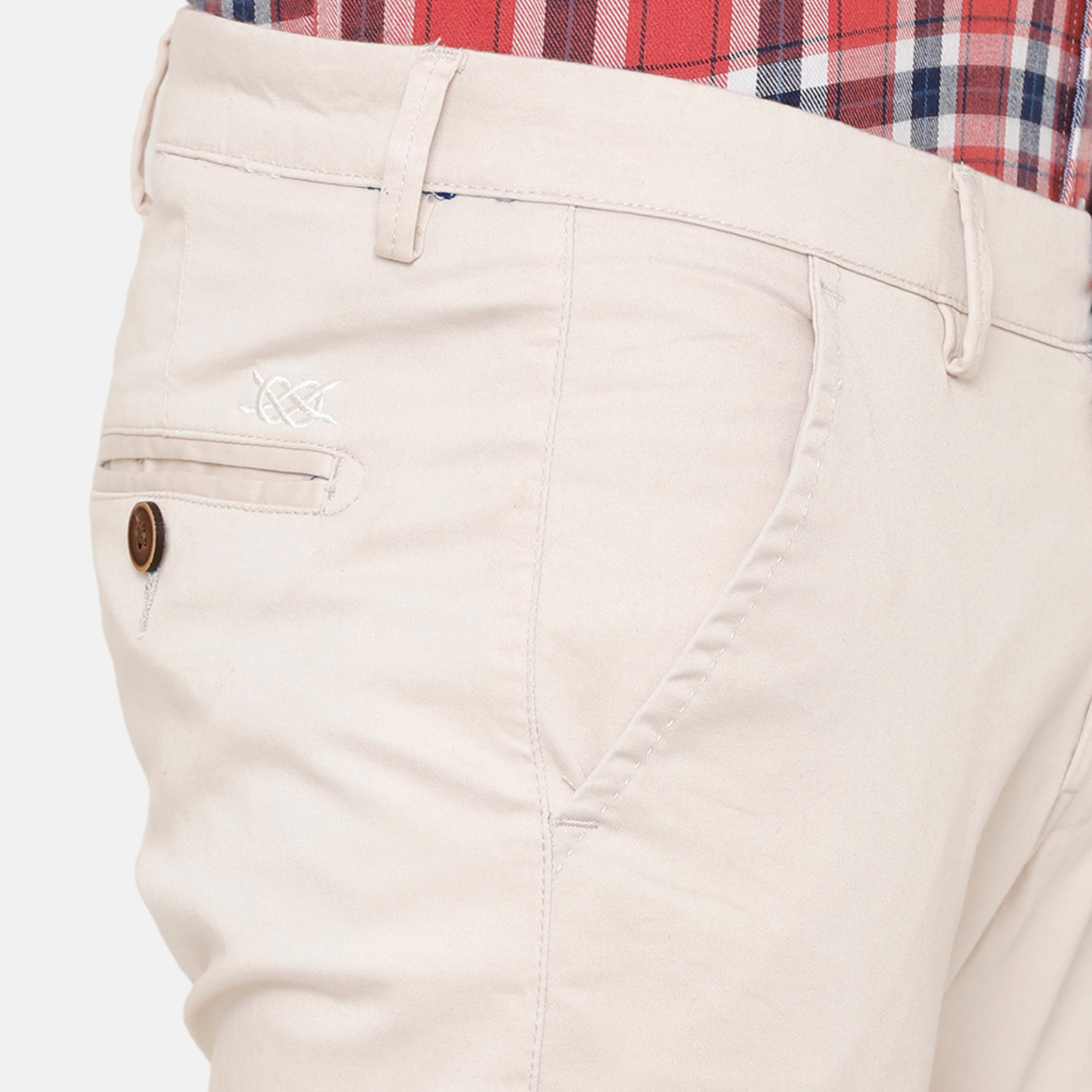 Bar Harbour Men Cream-Coloured Slim Fit Solid Chino Trousers