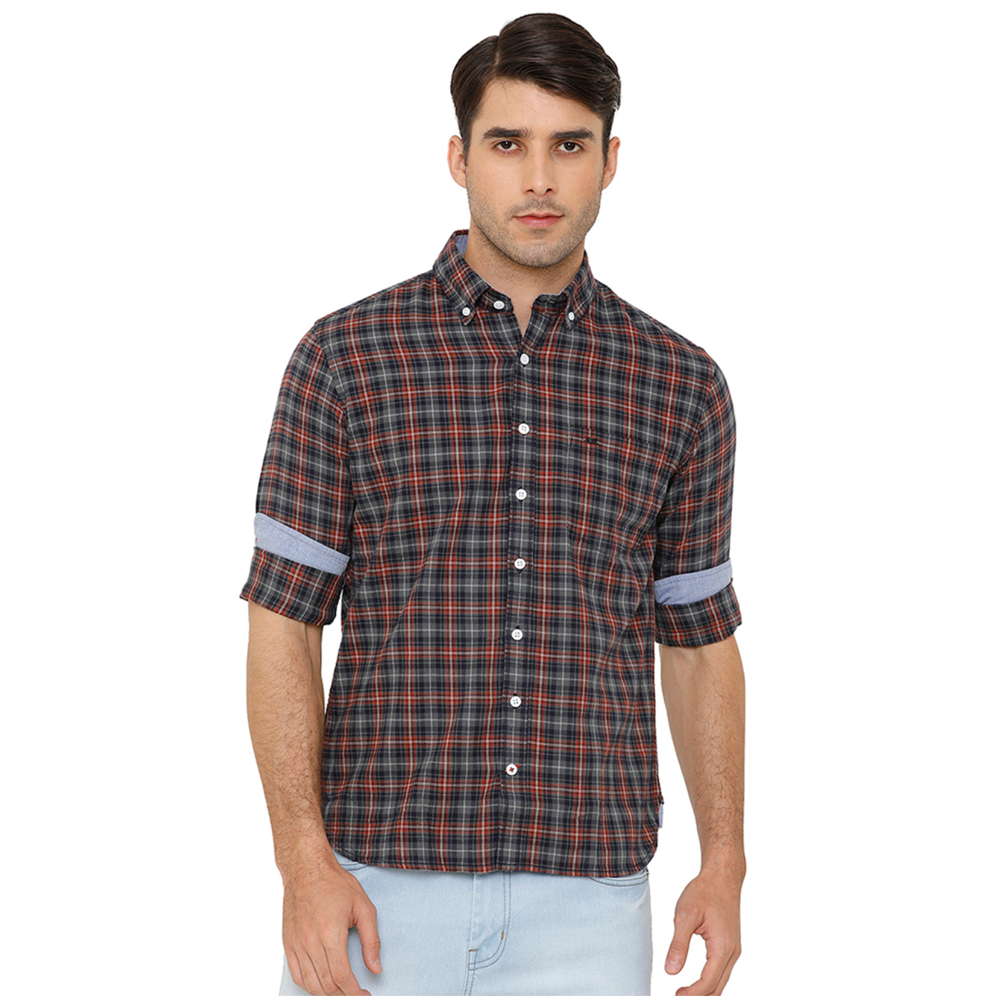 Bar Harbour Men Charcoal Grey & Navy Blue Slim Fit Checked Casual Shirt