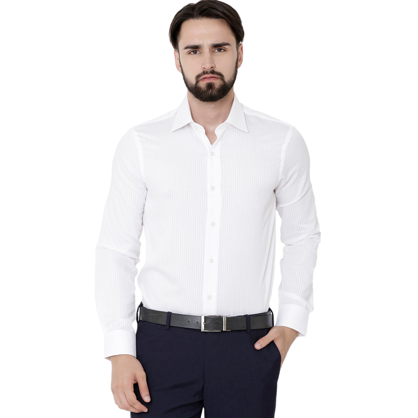 Double TWO White Solid Formal Shirt