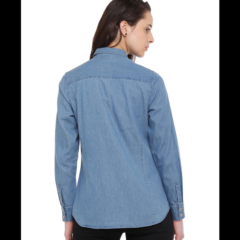 Double TWO Blue Denim Western Style Women'S Shirt